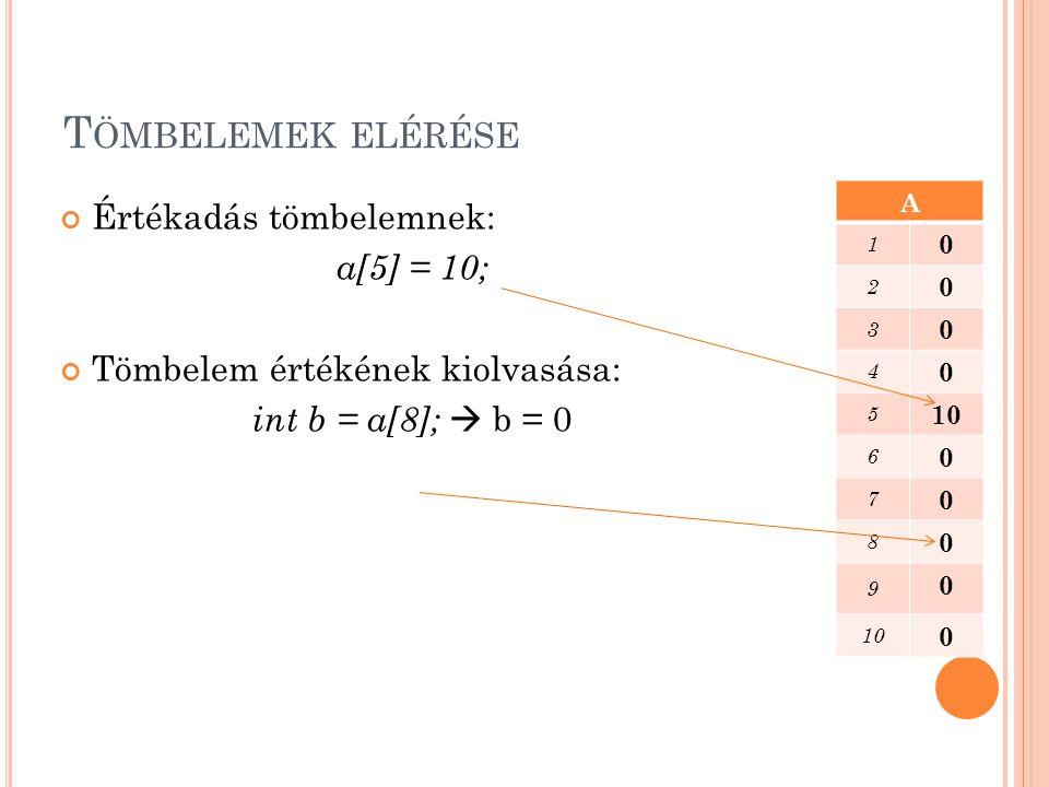 Tömbelemek elérése Értékadás tömbelemnek: a[5] = 10;